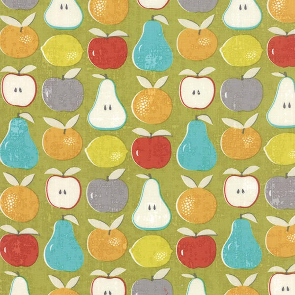 Garden Project Mixed Fruit Green Apple in Grey Quilting Fabric