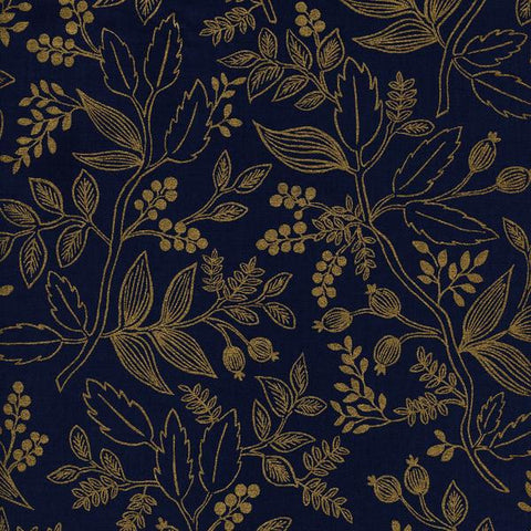 Les Fleurs by Rifle Paper Co. Queen Anne in Navy Metallic