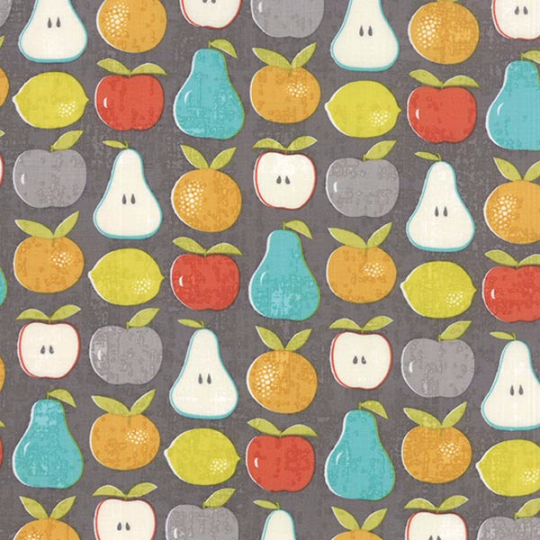 Garden Project Mixed Fruit in Grey Quilting Fabric