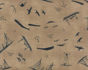 Janet Claire for Moda Fabrics More Hearty Good Wishes Sand/Boats
