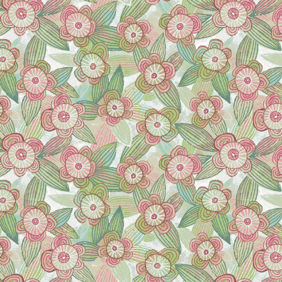 The Sweet Life Floral Fabric in pink and green