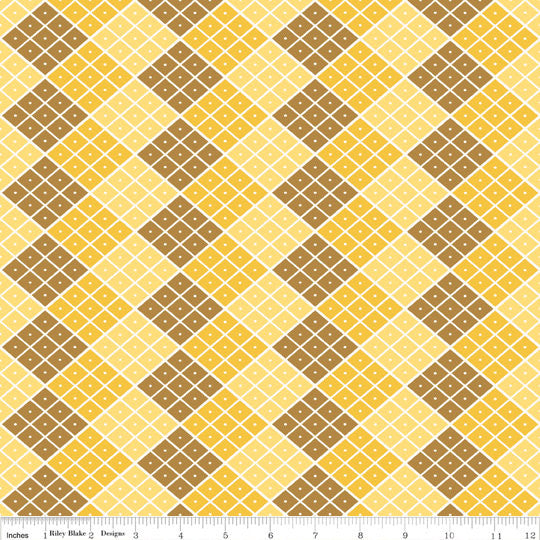 Indie Chic Checkers Yellow and Brown