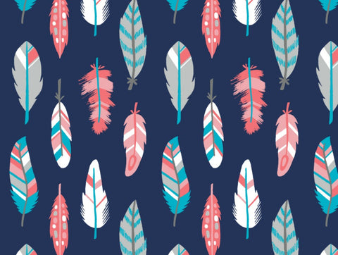 What a Gem FLANNEL Feathers in Navy
