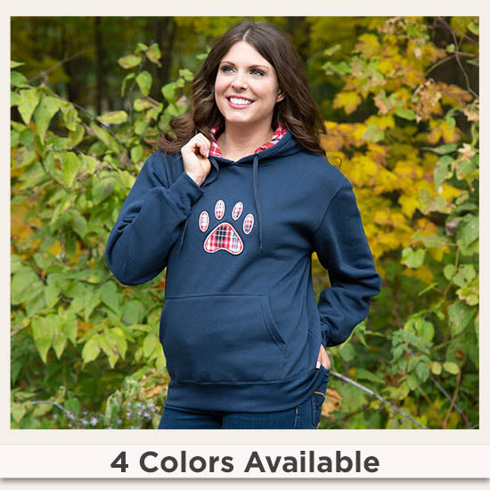Plaid Paw Hooded Sweatshirt - 4 Colors Available
