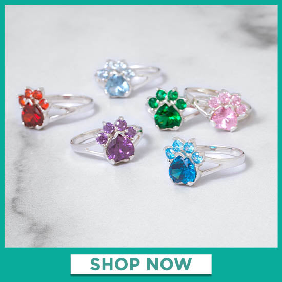 Paw Print Birthstone Sterling Ring - Shop Now
