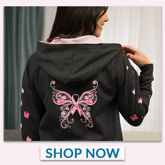 Butterfly Pink Ribbon Zip Hoodie - Shop Now