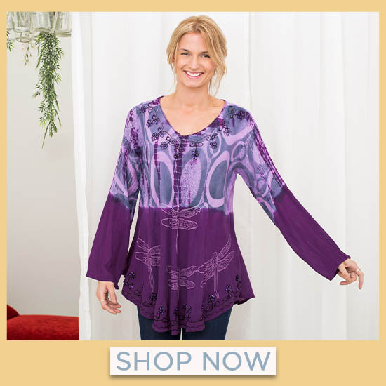 Darting Dragonfly Long Sleeve Tunic - Shop Now