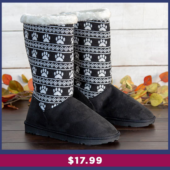 Paw Print Knit Boots - $17.99