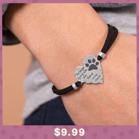 Forever In My Heart Paw Print Remembrance Bracelet - $9.99