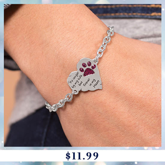 Forever In My Heart Paw Print Remembrance Bracelet - $11.99