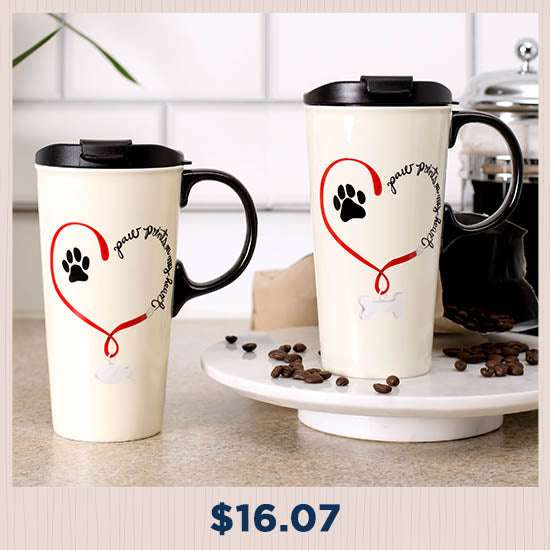 Paw Prints On My Heart Ceramic Travel Mug - $16.07