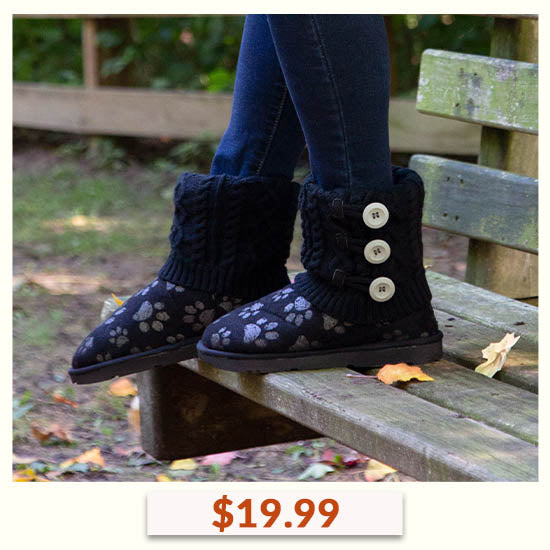 Paw Impression Mid Rise Knit Boots - $19.99