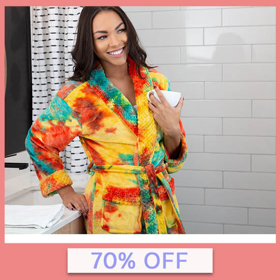Super Cozy™ Fleece Tie-Dye Bathrobe - 70% OFF