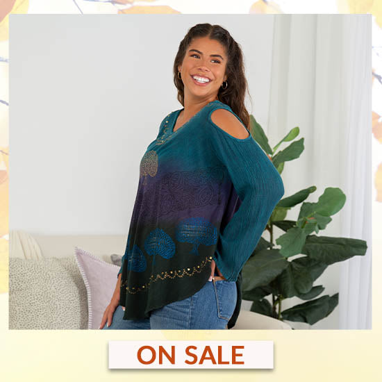 Deep Forest Long Sleeve Cold Shoulder Tunic - On Sale