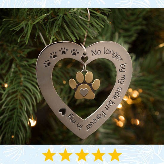Forever in My Heart Paw Print Ornament - Five Stars