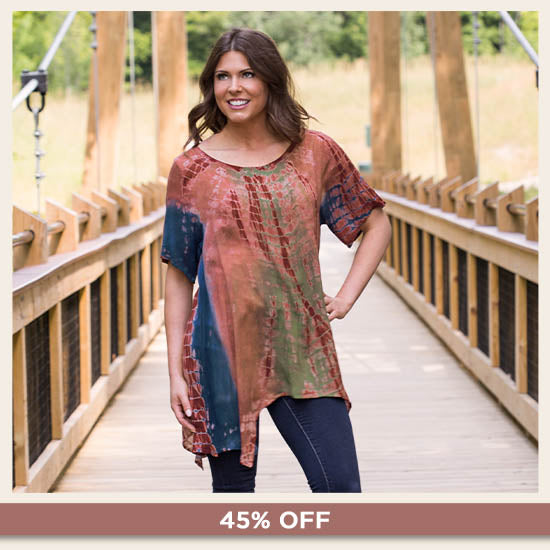 Tie-Dye Prism Asymmetrical Top - 45% OFF