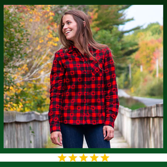Paw Print Flannel Button Up Shirt  - ★★★★★