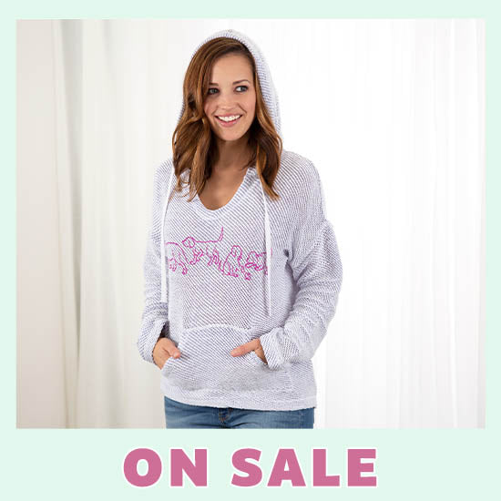 Open Knit Pet Silhouette Hoodie - On Sale