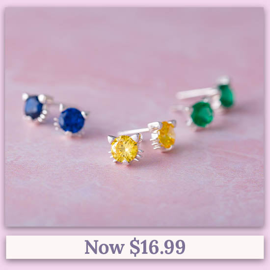 Cat Face Sterling Birthstone Earrings - Now $16.99