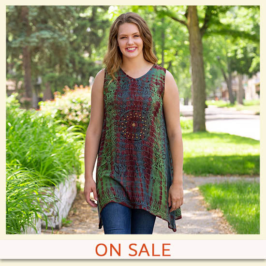 Swirling Leaves Beaded Tunic - On Sale