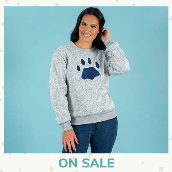 Paw Print Fleck Crewneck Sweatshirt - On Sale