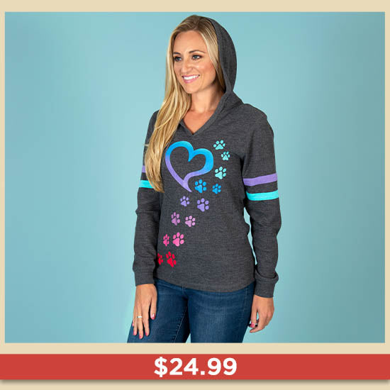 Rainbow Paws Thermal Lightweight Hoodie | $24.99