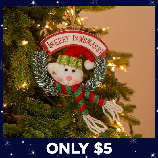 Merry Pawsmass Wreath Ornament - Only $5