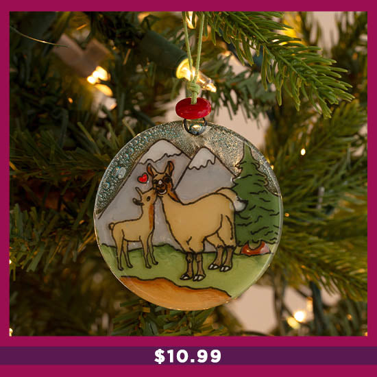 Animal Family Recycled Glass Ornament - $10.99