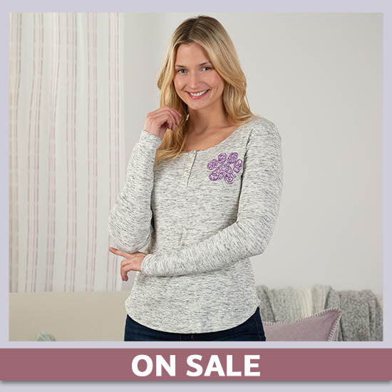 Purple Paw Ribbed Henley Top - On Sale