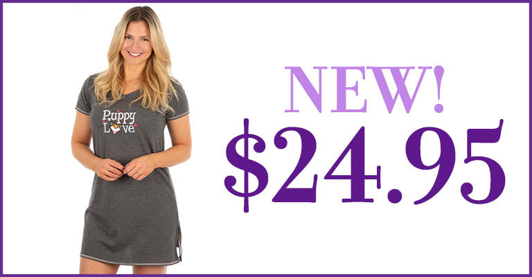 Puppy Love V-Neck Nightgown | New! | $24.95