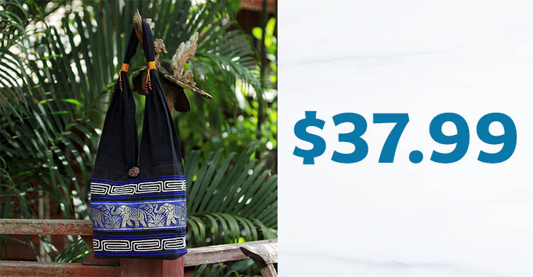 Blue Elephant Cotton Sling Handbag | $37.99