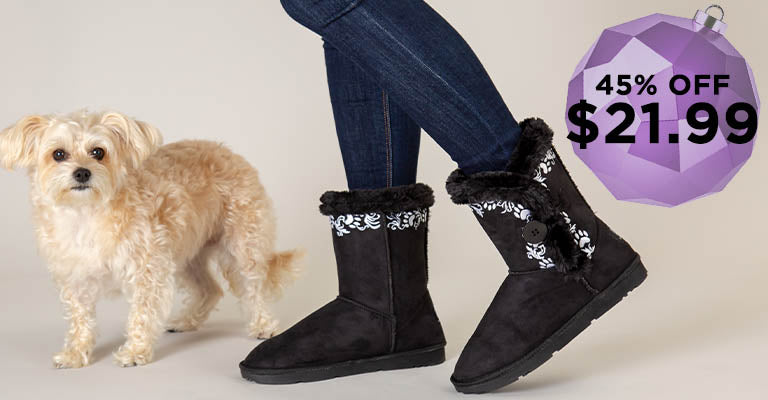 Swirling Vine Paw Print Boots   45% OFF   $21.99