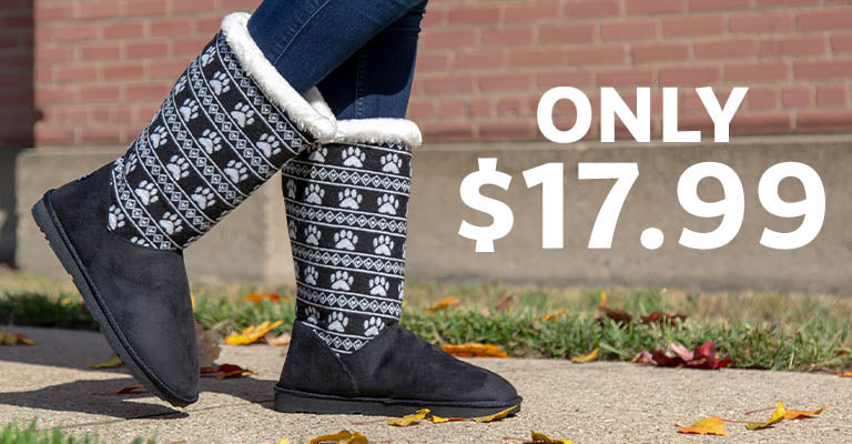 Paw Print Knit Boots | Only $17.99