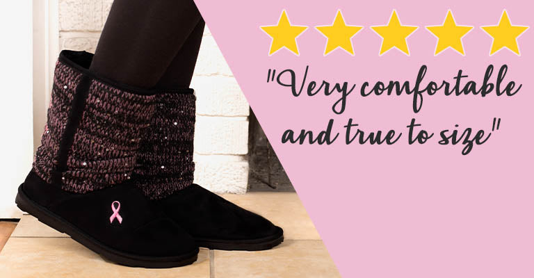 Pink Ribbon Mid Rise Sparkle Knit Boots | ★★★★★