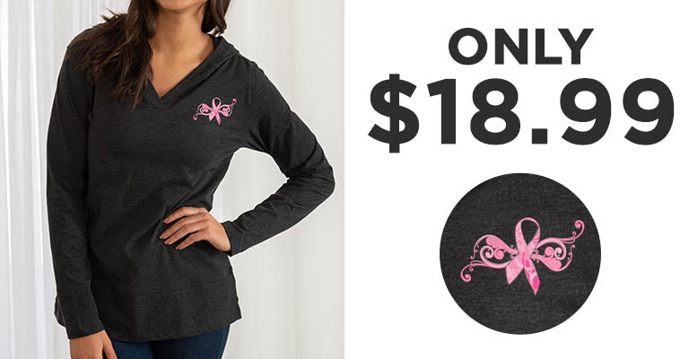 Pink Ribbon Butterfly Lightweight Hooded Tunic | Only $18.99