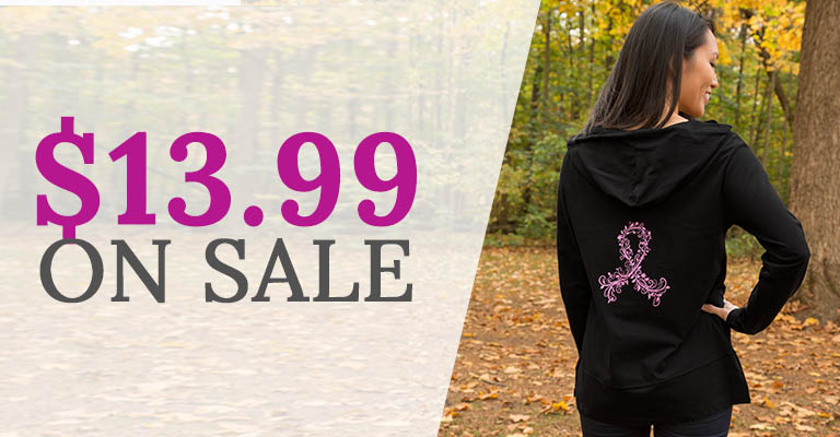 Pink Ribbon Swirl Lightweight Hooded Tunic | On Sale! | $13.99