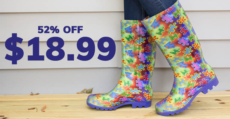 Free Spirit Piece of the Puzzle Ultralite Rain Boots | 52% OFF | $18.99