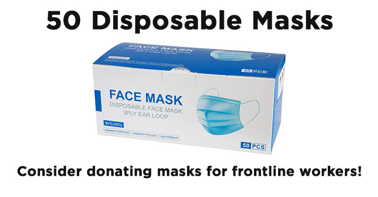 50 Disposable Masks | Consider donating masks for frontline workers!
