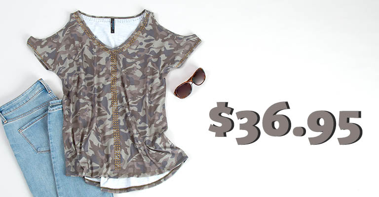 Camo Studded V-Neck Top | $36.95