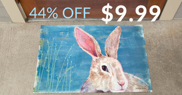Watercolor Bunny Door Mat | 44% OFF | $9.99