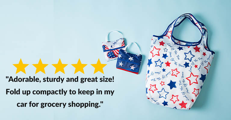 Patriotic Shopping Bags - Set of 3 | Five Stars