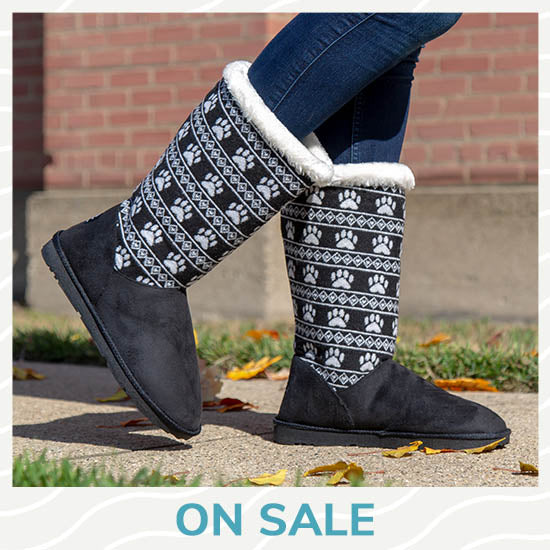 Paw Print Knit Boots - On Sale