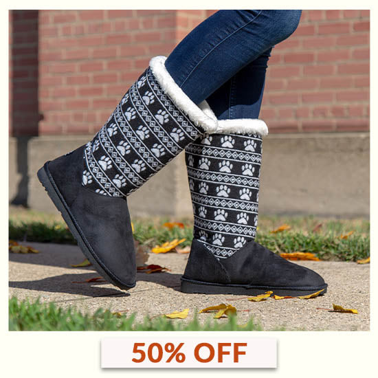 Paw Print Knit Boots - 50% OFF