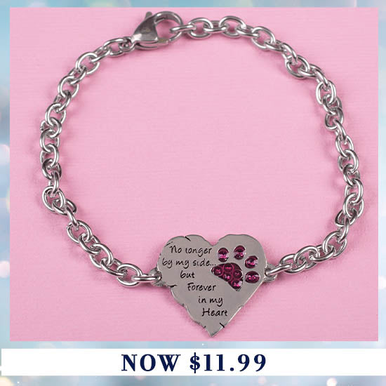 Forever In My Heart Paw Print Remembrance Bracelet - Now $11.99