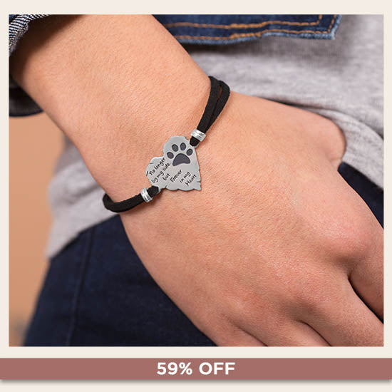 Forever In My Heart Paw Print Remembrance Bracelet - 59% OFF