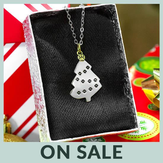 Merry Christmas Paw Print Necklace - On Sale