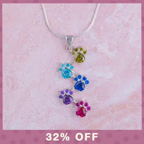 Rainbow of Paws Sterling Necklace - 32% OFF