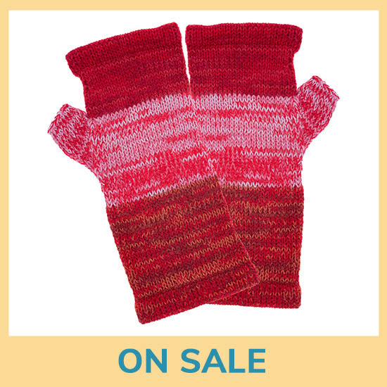 Alpaca Wool Fingerless Mittens - On Sale