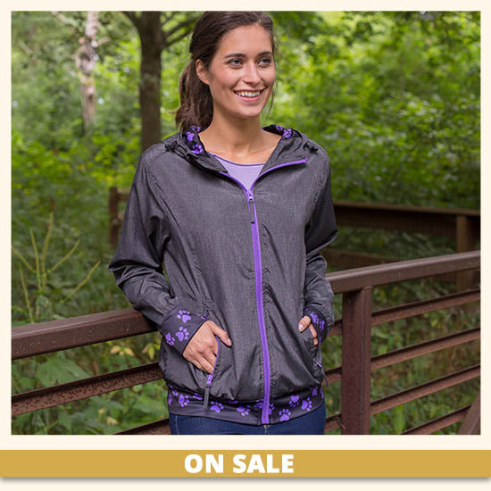 Purple Paw Lightweight Athletic Jacket - On Sale