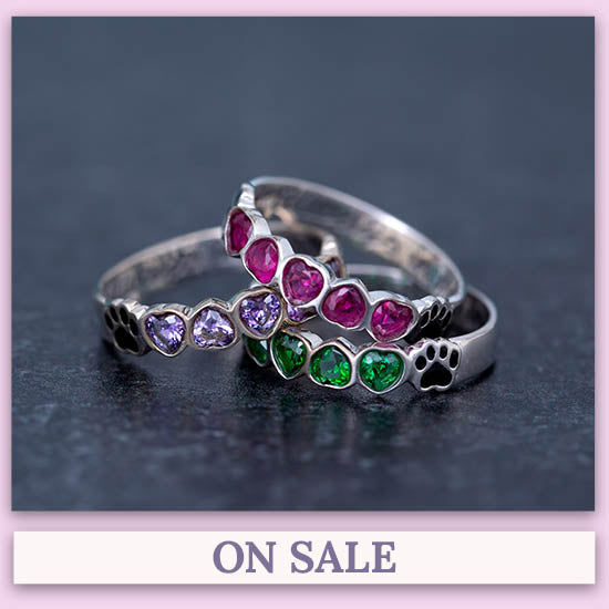 Sterling Stackable Paw Print Birthstone Ring - On Sale